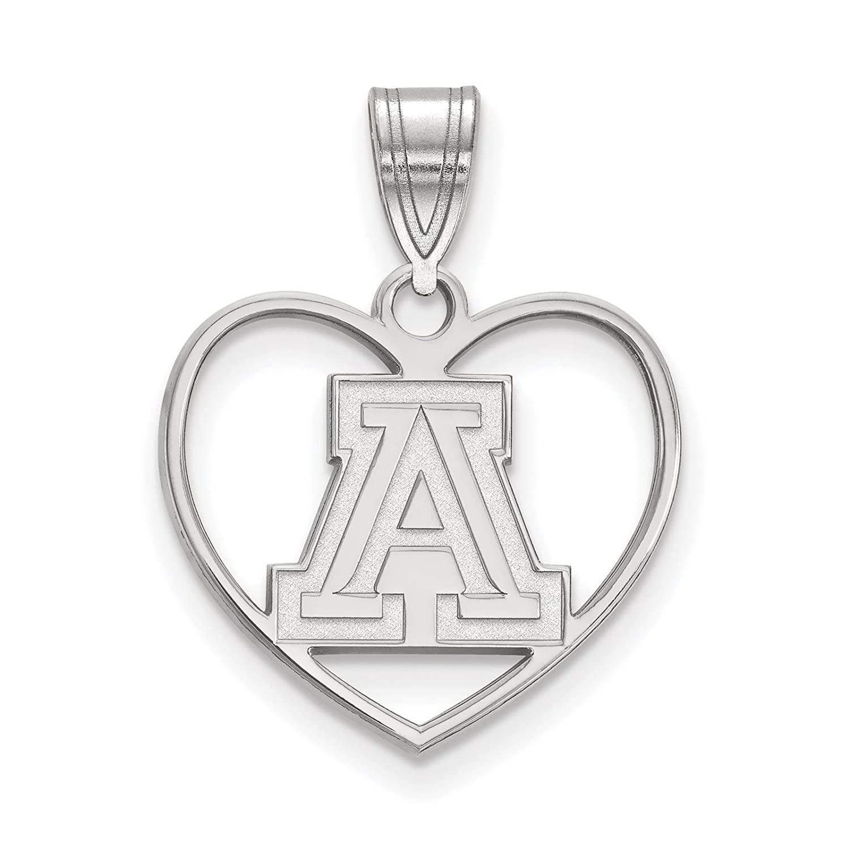 925 Sterling Silver Rhodium-plated Laser-cut University of Arizona Heart Pendant