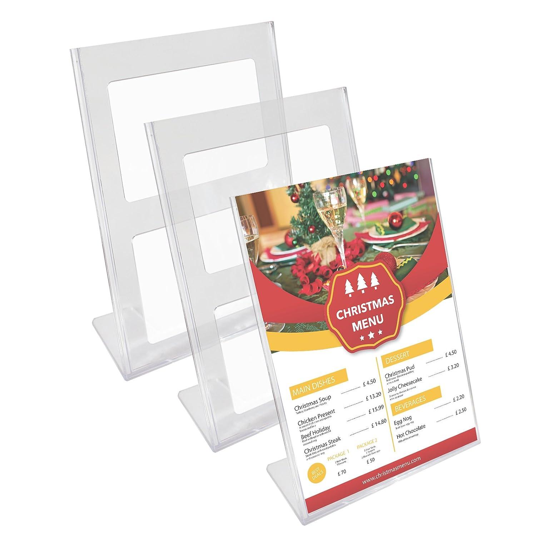 Kurtzy Confezione da 3 Segnatavolo Porta Menu Ristorante Plastica Acrilica Trasparente Supporti Bancone A4 30 x 21.5 - Set Cornici Poster Documenti Commerciali JM-4002