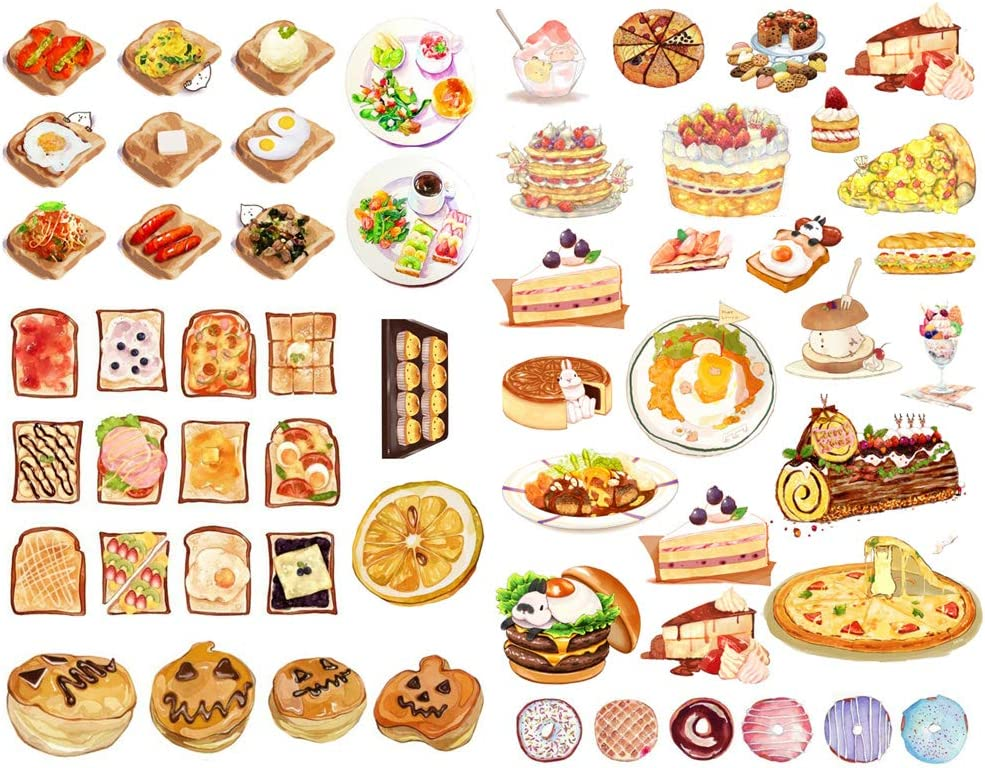 Seasonstorm Bread Cake Pizza Food Precut Anti-UV Waterproof Decoration Notebook Planner Stickers Scrapbooking Diary Sticky Paper Flakes (PK014)