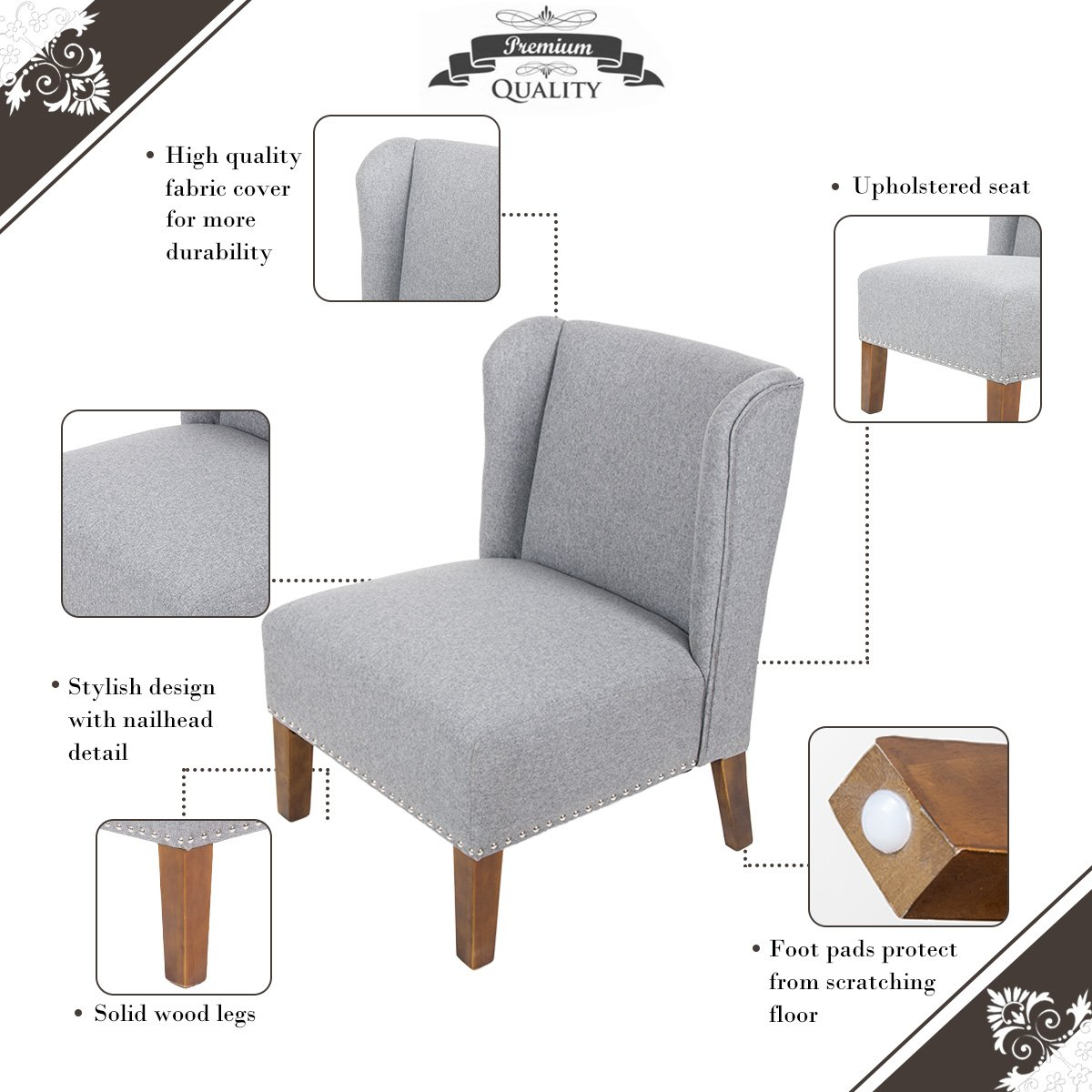 Merax Stylish Contemporary Upholstered Wingback Accent Chair