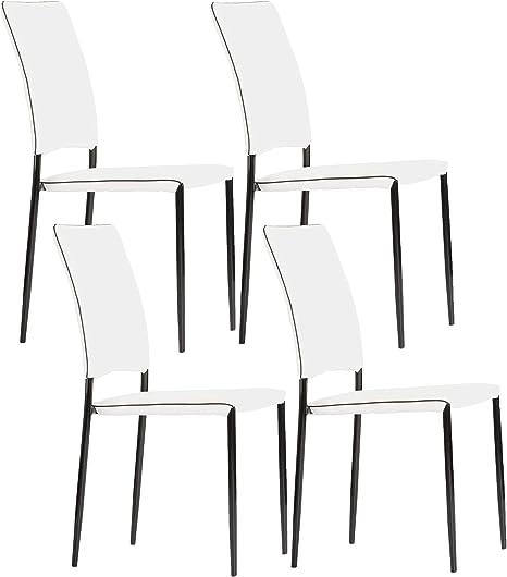 Miroytengo Pack 4 sillas apilables Aran Color Blanco y Negro ...
