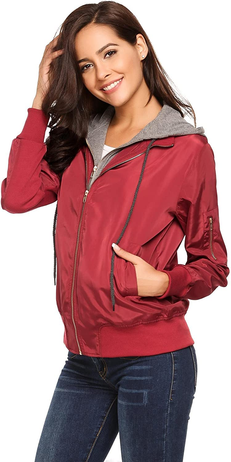 Ouyilu Womens Classic Quilted Zip Up Lightweight Padded Vintage Long Sleeve Coat Short Bomber Jacket S-XXL