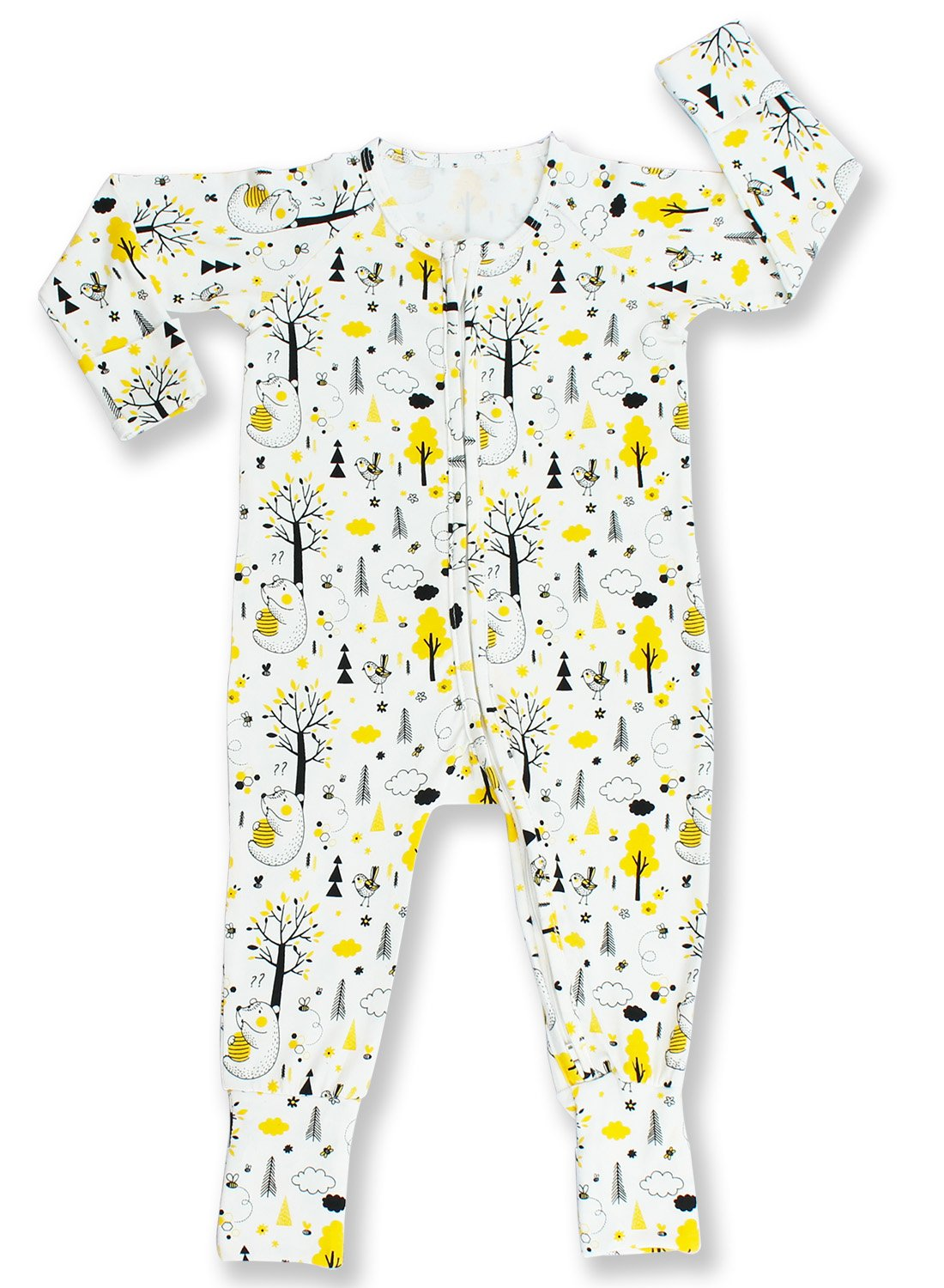 Pajammie Zipsuits Unisex Baby Bamboo and Organic Cotton Sleeper Footie Romper with 2-Way Zip (2T, Honey Bears)