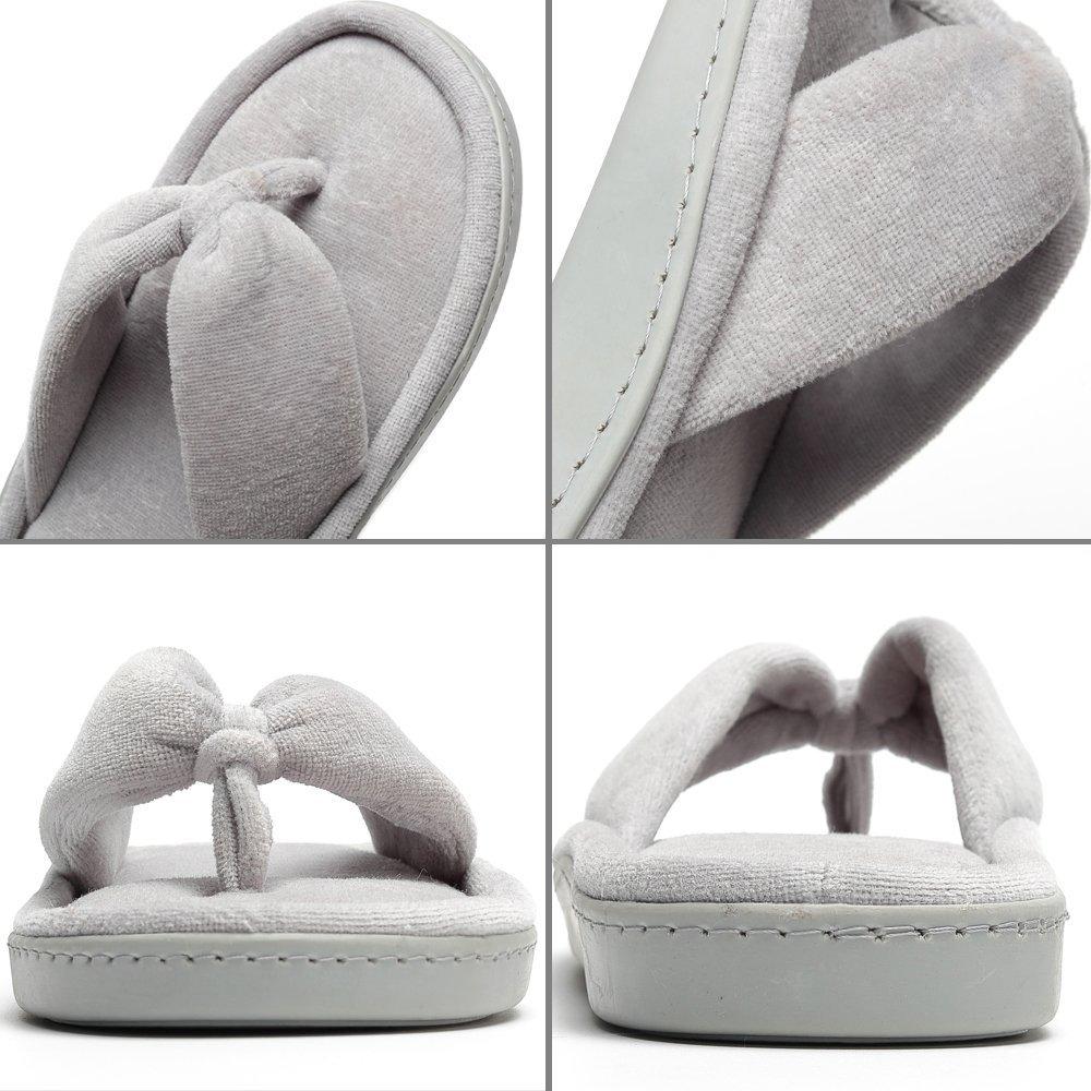 MIYA Womens Cozy Spa Flip Flops House Indoor Slippers Velvet Lining Open Toe Slippers
