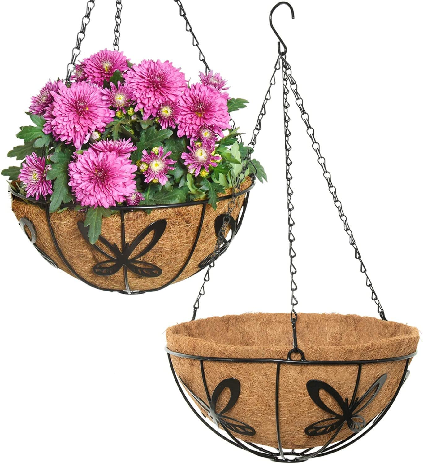 Vumdua Metal Hanging Planter Basket for Indoor Outdoor, 2 Pack 12 Inch Round Wire Plant Holder with Hanging Chain - Flower Pots with Coconut Coir Liner Decor for Home, Fence, Porch, Patio, Deck