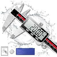 Digital Caliper, Qfun 6 Inch Caliper Measuring Tool Extreme Accuracy IP54 Waterproof Digital Micrometer Stainless Steel…