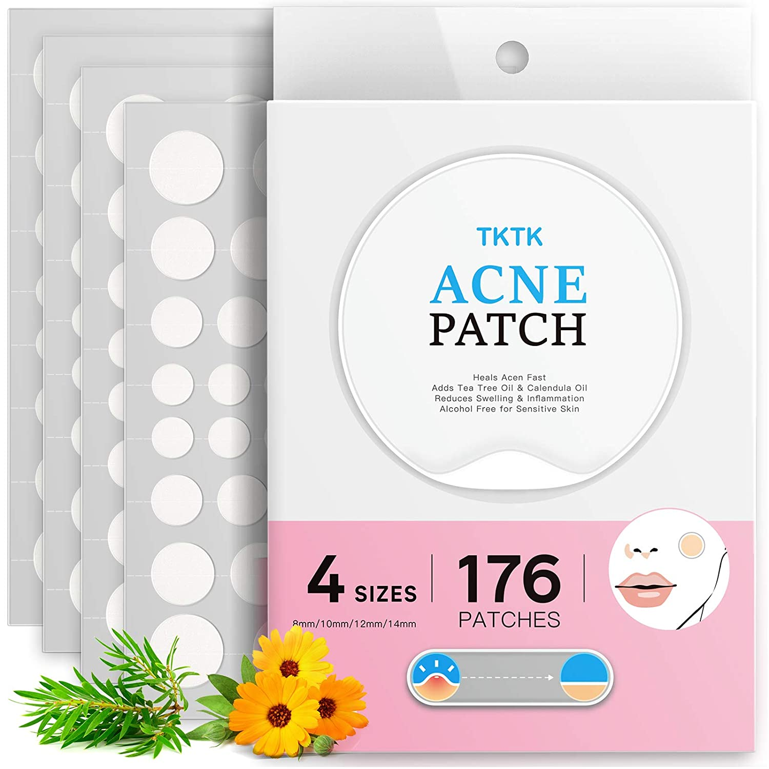 Pimple Patches, TKTK Acne Patches For Face 4 Sizes 176 Patches Hydrocolloid Patch Acne Absorbing Zit Patch Easy To Peel, Add Tea Tree & Calendula Oil