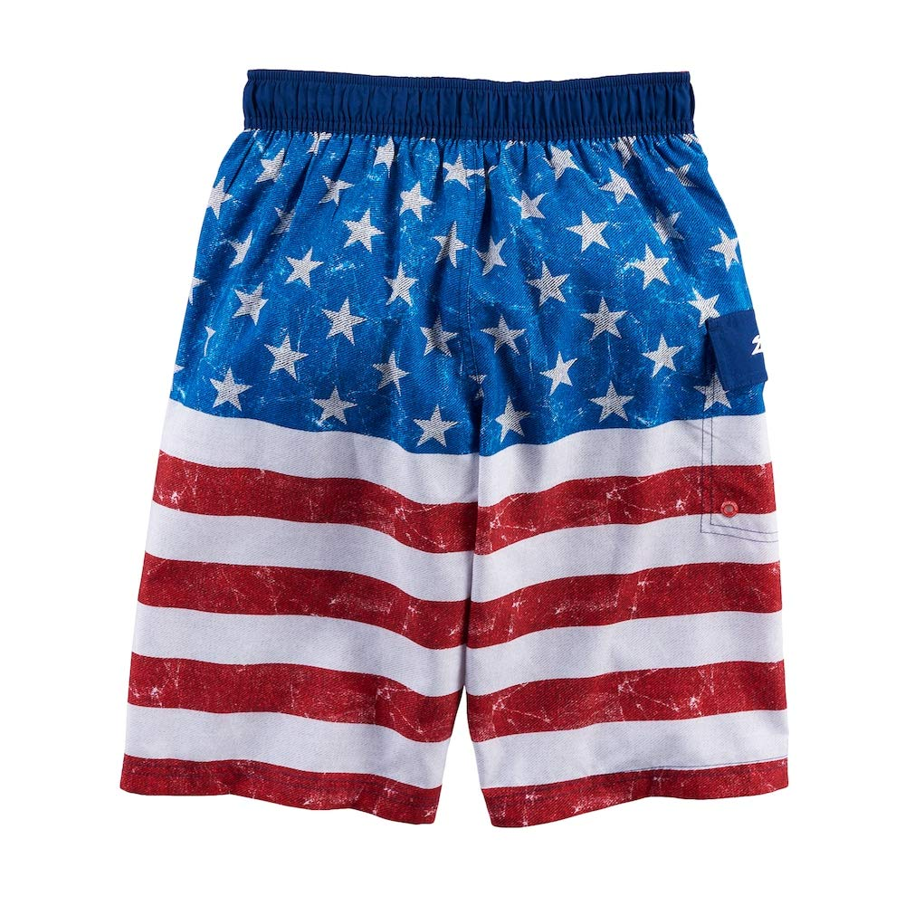 White//Red//Blue Size XL 18-20 ZeroXposur Microfiber Big Boy Pocket US Flag Surf Swim Shorts UPF50