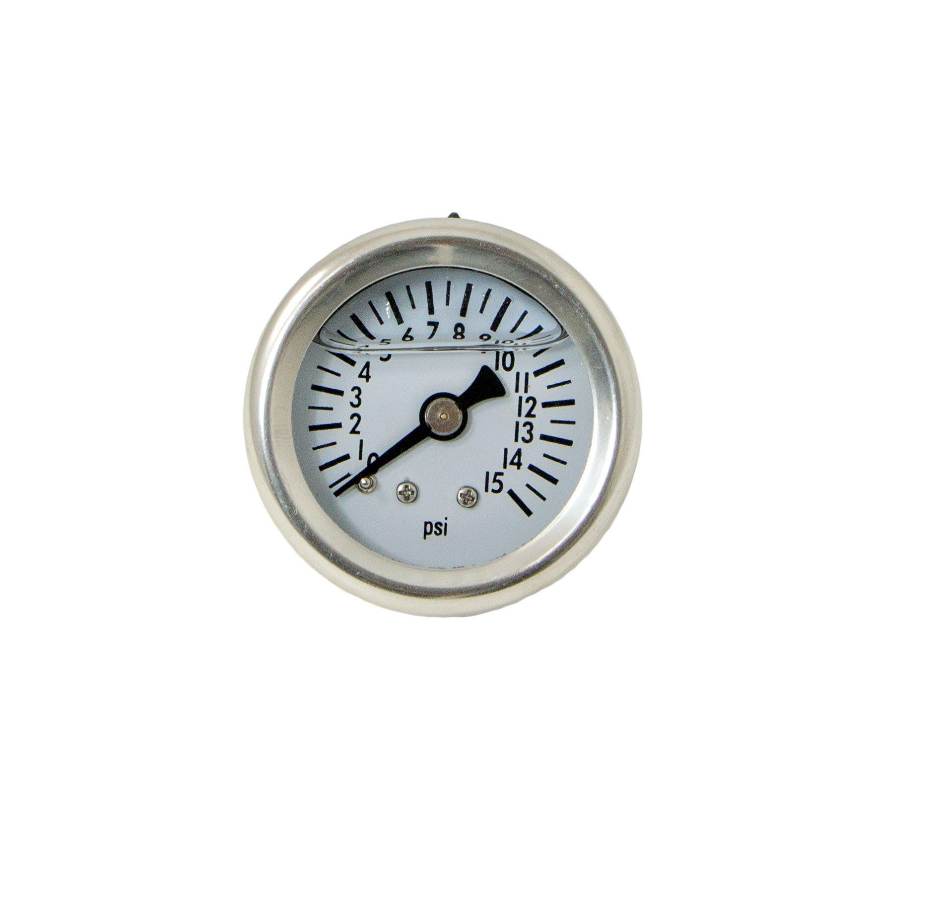 Top Street Performance JM1017 1/8'' NPT Liquid Filled Fuel Pressure Gauge (0-15 psi)