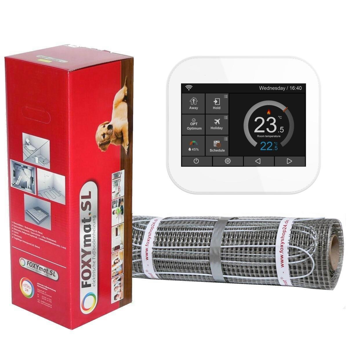 mit Thermostat FOXYREG SPSW,Komplett-Set 0.5m x 14m 7.0 m/² FOXYSHOP24-elektrische Fu/ßbodenheizung PREMIUM MARKE FOXYMAT.SL 160 Watt pro m/²