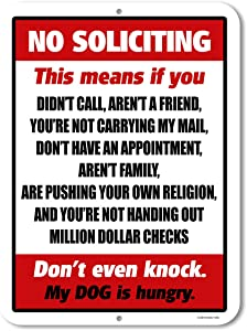 Funny Decor, No Soliciting, 9 x 12 inch Novelty Tin No Soliciting Sign for House