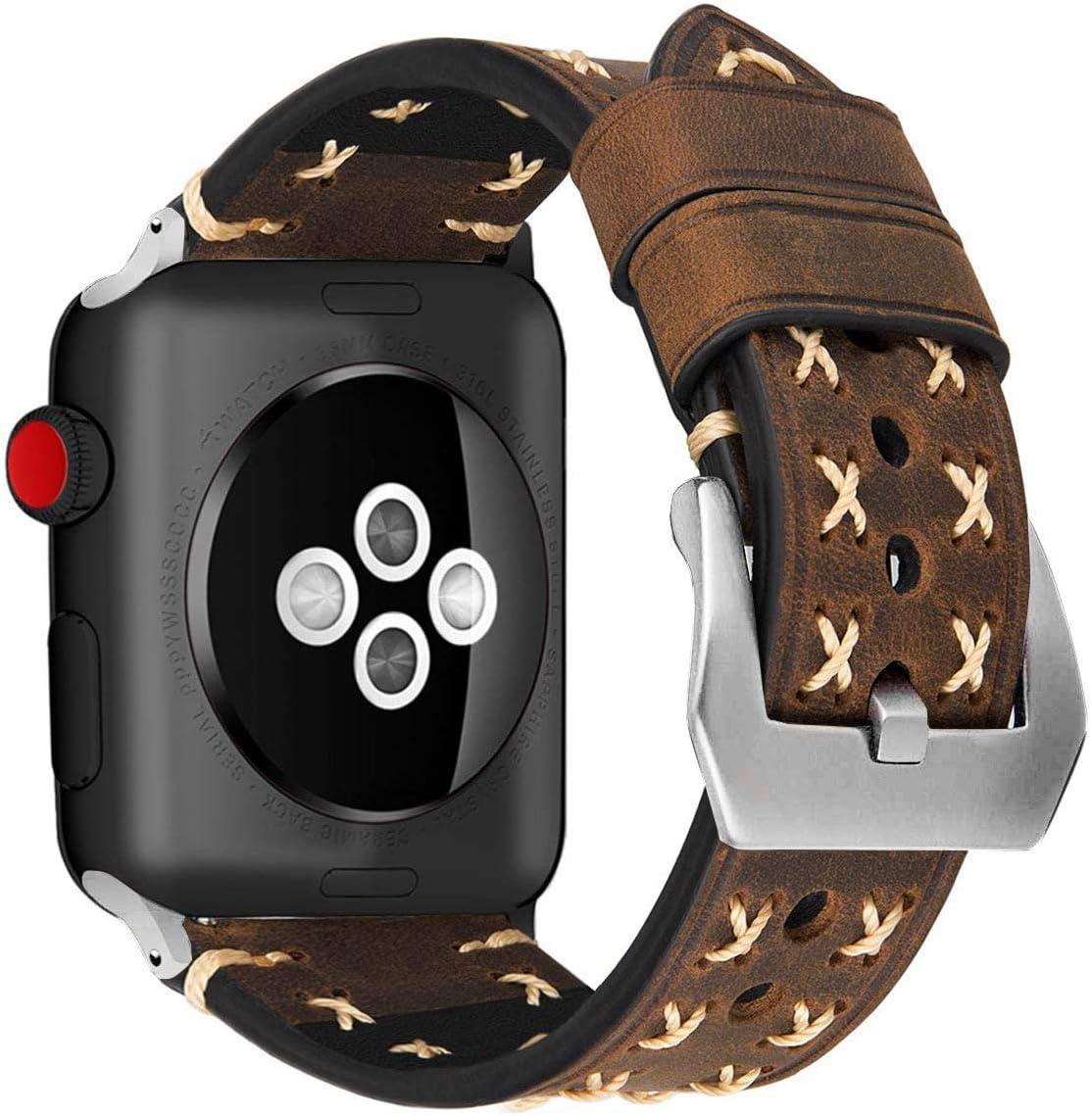 MroTech Correa de Cuero Compatible para iWatch Serie 5/4/3/2/1 iWatch Pulseras de Repuesto 42mm Banda de Reloj Bracelet Strap Compatible para iWatch 42 mm 44 mm Watch Band, Vintage-Caffè