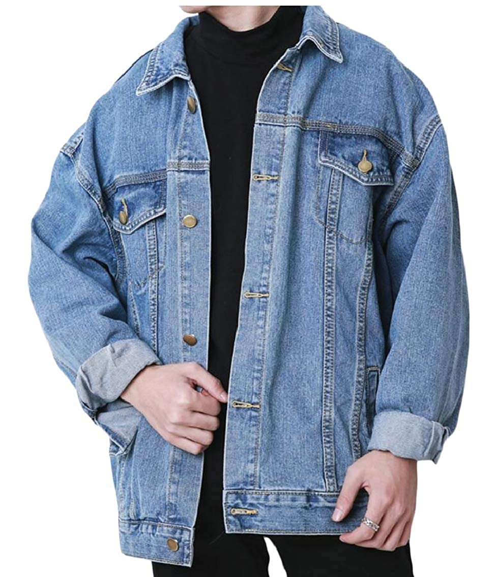 Keaac Men Fashion Plus Size Button Up Denim Jean Jacket Coat Outerwear