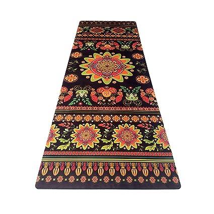 Amazon.com: Yoga Mat - Rubber Non-Slip Travel Fitness Flower ...