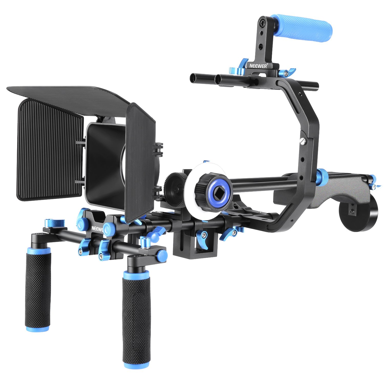 Neewer Film Movie Video Making System Kit for Canon Nikon Sony and Other DSLR Cameras Video Camcorders, includes: C-shaped Bracket,Handle Grip,15mm Rod,Matte Box,Follow Focus,Shoulder Rig (Blue+Black) by Neewer