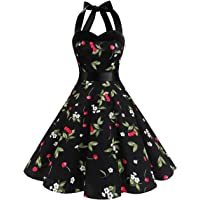 Dresstells Neckholder Rockabilly 1950er Polka Dots Punkte Vintage Retro Cocktailkleid Petticoat Faltenrock