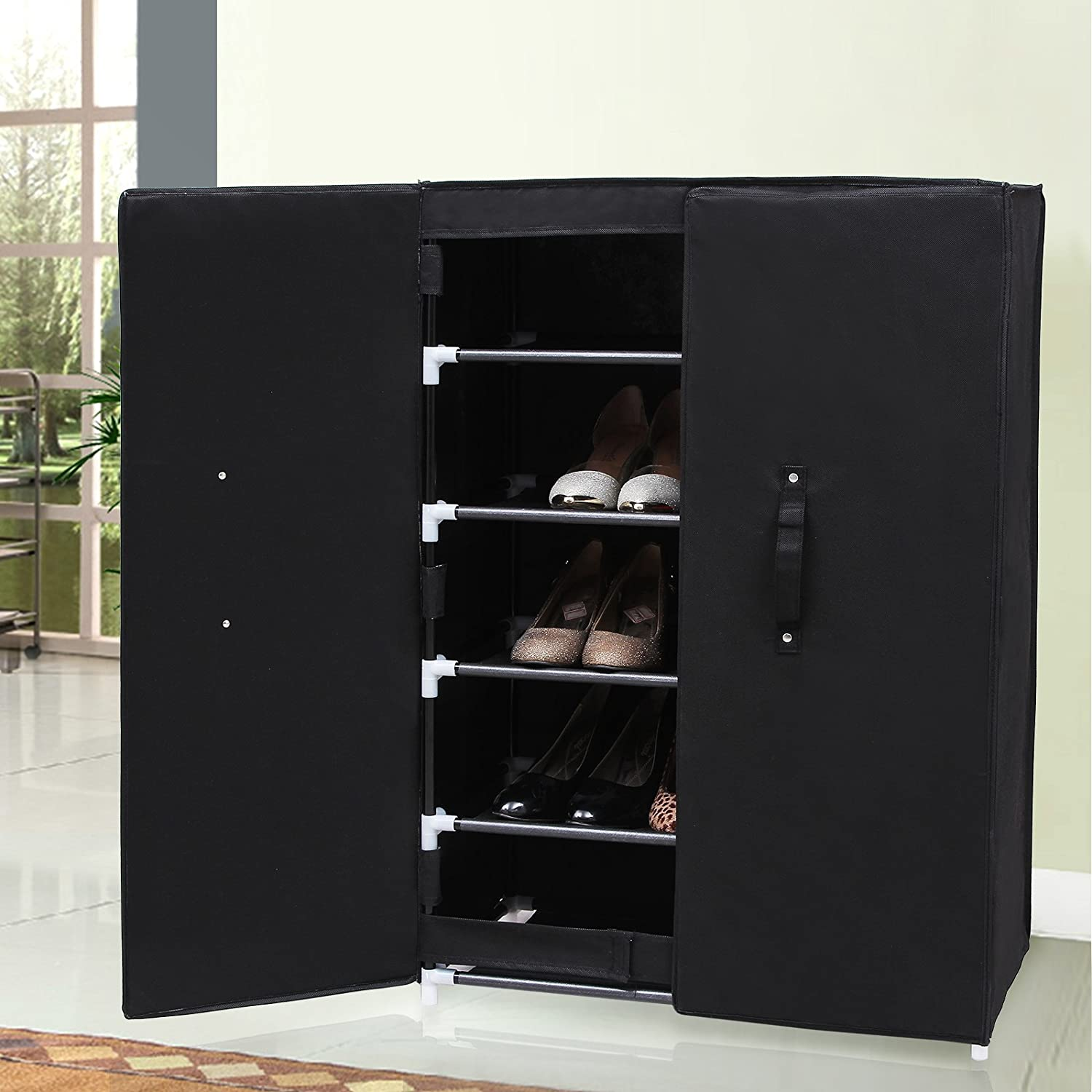 Songmics 6 Tier Shoe Rack Stand With 2 Doors Shoe