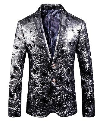 OUYE Mens Silver 2 Button Casual Blazer Medium