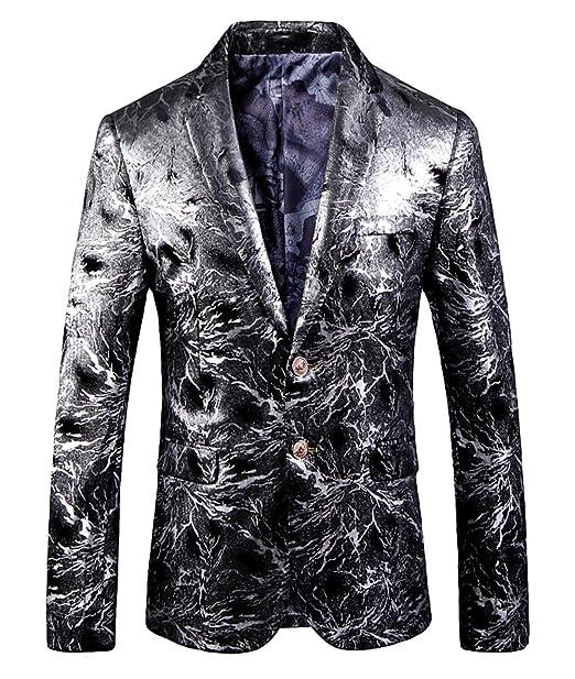 size 40 67bf0 dbb72 OUYE Uomo Argento Casuale Slim Fit Capispalla Blazer Luxury Giacca
