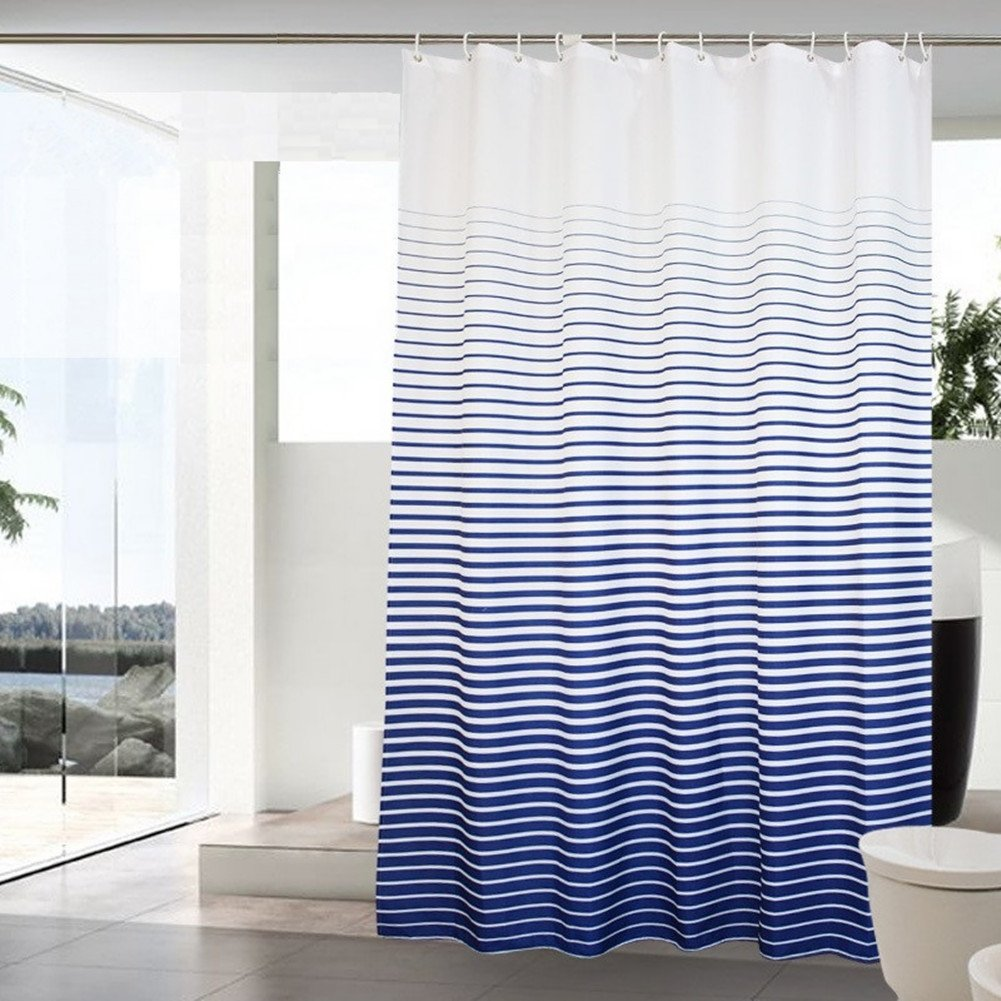 Amazoncom Ufatansy Uforme Blue And White Striped Shower Curtain