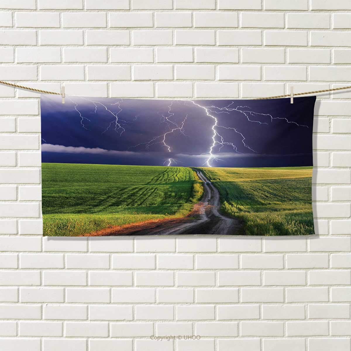 Chaneyhouse Nature,Hand Towel,Summer Storm About to Appear with Flash on The Field Solar Illumination Energy Theme,Quick-Dry Towels,Green Blue Size: W 20'' x L 20''