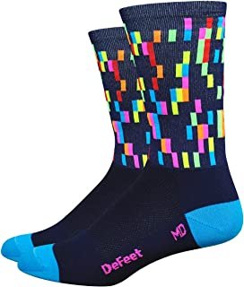 product image for DEFEET AIRTPIXNVPB201 Aireator Barnstormer Socks, Medium, Navy/Process Blue/Hi-Vis Pink