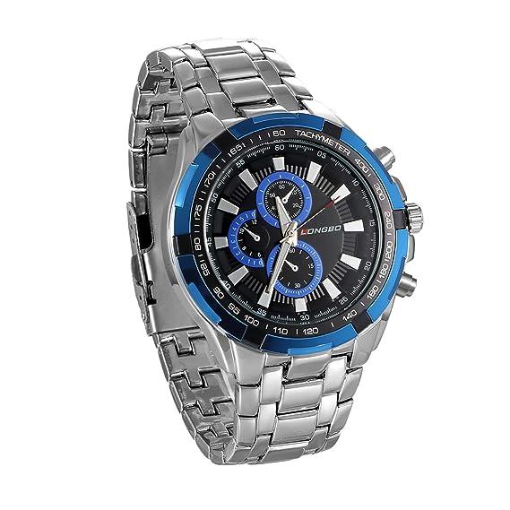 jewelrywe Reloj de Hombre Correa de Acero Inoxidable quadrantini Falsos 30 m Impermeable Reloj de Trabajo