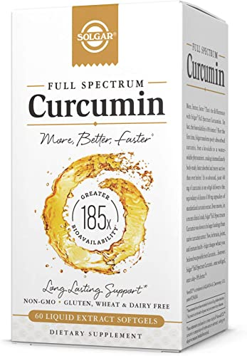 Solgar Full Spectrum Curcumin Liquid Extract, 60 Softgels – Faster Absorption – Brain, Joint Immune Health – Long Lasting Support – Non GMO, Gluten Free, Dairy Free – 60 Servings