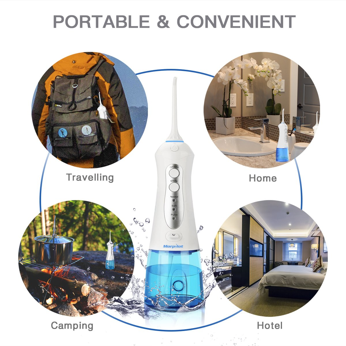 Water Flossers for Teeth,Cordless Oral Irrigator Floss Water Jet with 4 Jet Nozzles and 200ml Reservoir,IPX7 Waterproof Usb Rechargeable 3 Water Pressure and FDA Approved