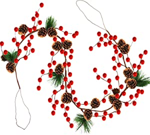 TURNMEON 6 Foot Christmas Garland Decor with Pine Cones Red Berries Bristle Pine Garland Xmas Decoration Indoor Outdoor Home Mantle Fireplace Holiday Decor(Pine Needle Garland)