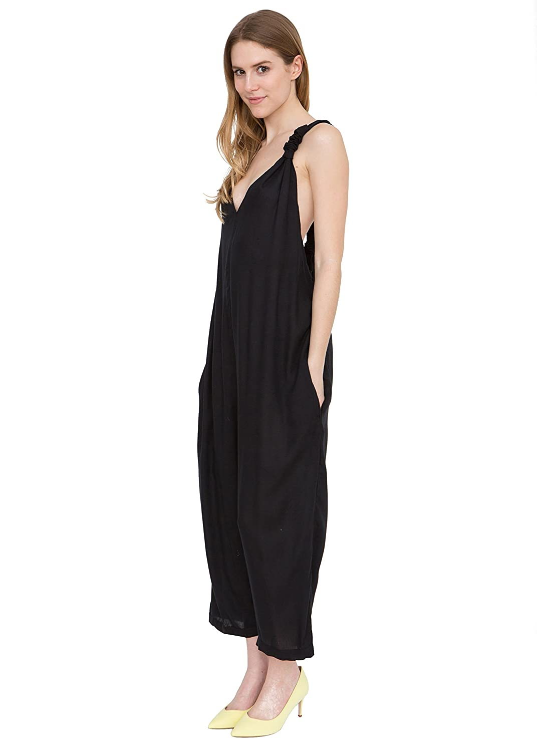 Racer Back Wide Leg Culotte Jumpsuit Black