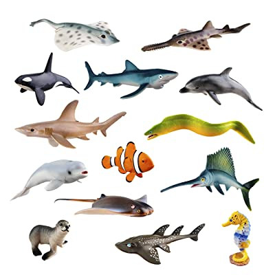 "TOYMANY 14PCS Realistic Sea Animals Figurines, 2-6"" Plastic Ocean Animals Figures Set Includes Orca/Beluga Whale,Sharks,Dolphin,Fish, Baby Shower Toy Cake Toppers Birthday Gift for Kids Toddlers: Toys & Games"