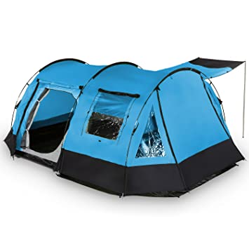 skandika Kambo - 4 Personas - Tienda campaña Familiar - túnel - mosquiteras (Azul): Amazon.es: Deportes y aire libre