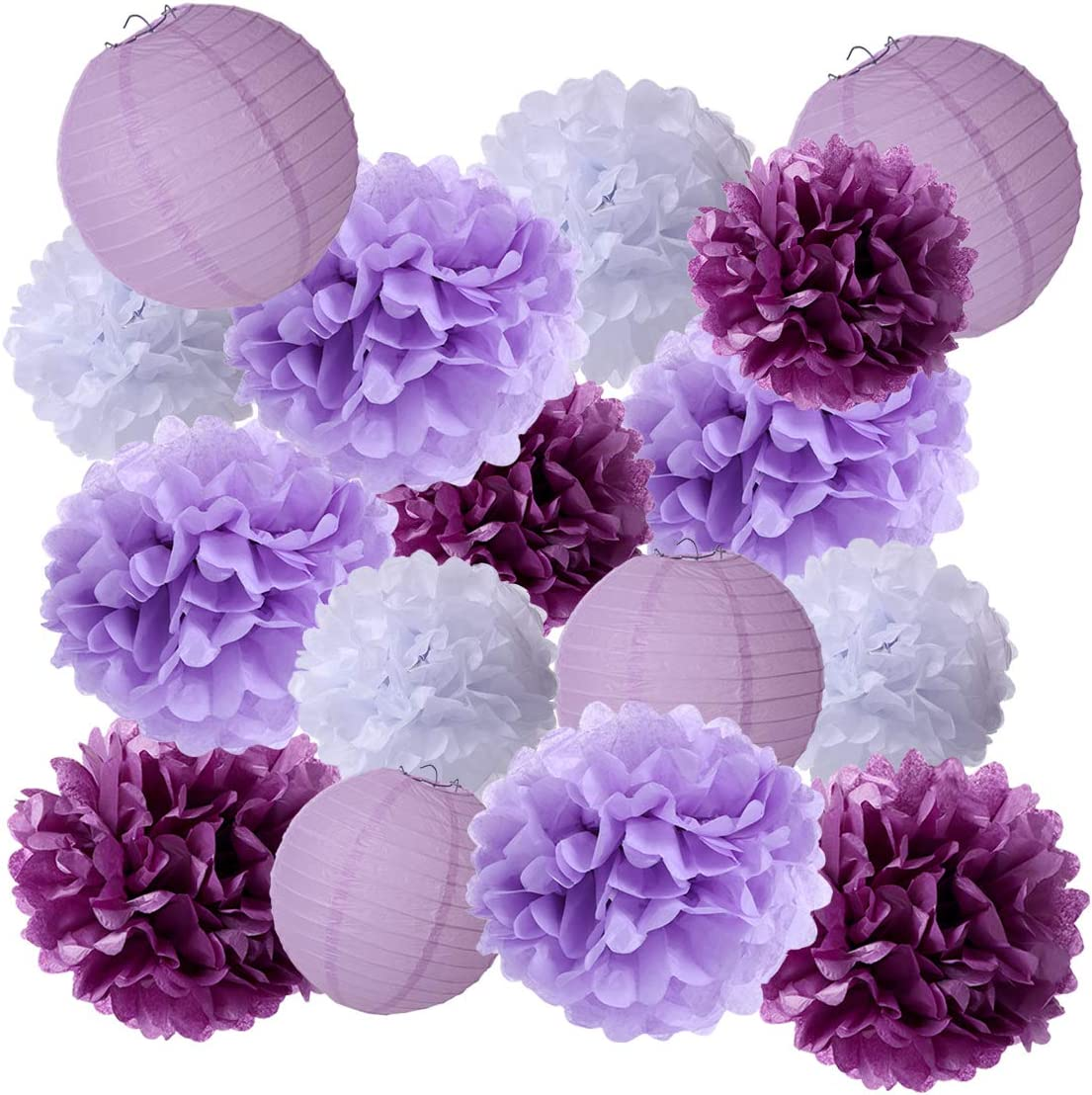 16 Pack Paper Flowers Pom Poms & Paper Lanterns Decorative Party Pack Tissue Paper Flower Kit for Wall Decor, Wedding Decorations&Birthday Baby Shower Festival Party Decorations White/Lavender/Purple
