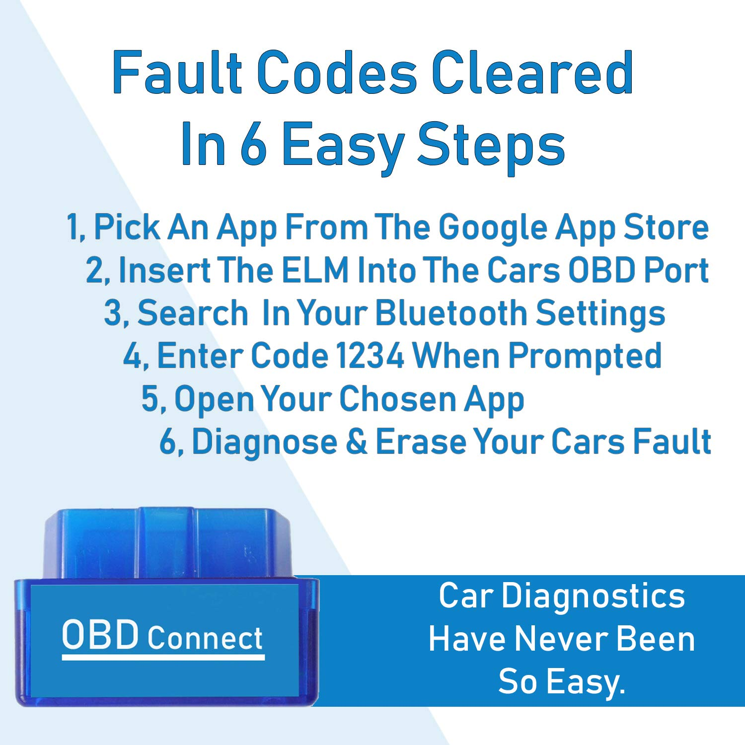 OBD Connect - OBDII OBD 2 Bluetooth Fault Code Reader For Use With Android  Devices