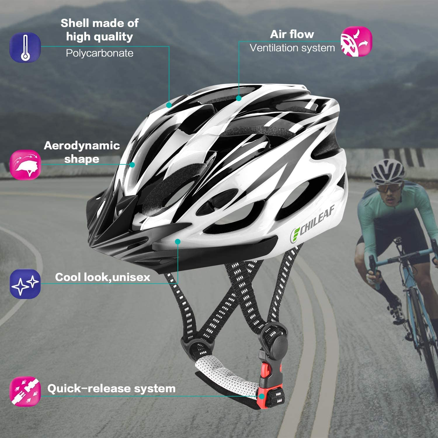 Sport Headwear Cycling Bicycle Helmets Adjustable Lightweight Adults Youth Mens Womens Ladies for BMX Skateboard MTB Mountain Road Bike Safety CHILEA Adult Bike Helmet with Visor 18 Vents