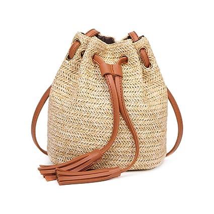 Haodou Bolsa de Playa Casual Mini Bolsas de Paja Bolsas de Hombro Cruz Cuerpo Mujeres Rattan Flecos Bolso del Cubo del Lazo Para la Playa del Verano ...