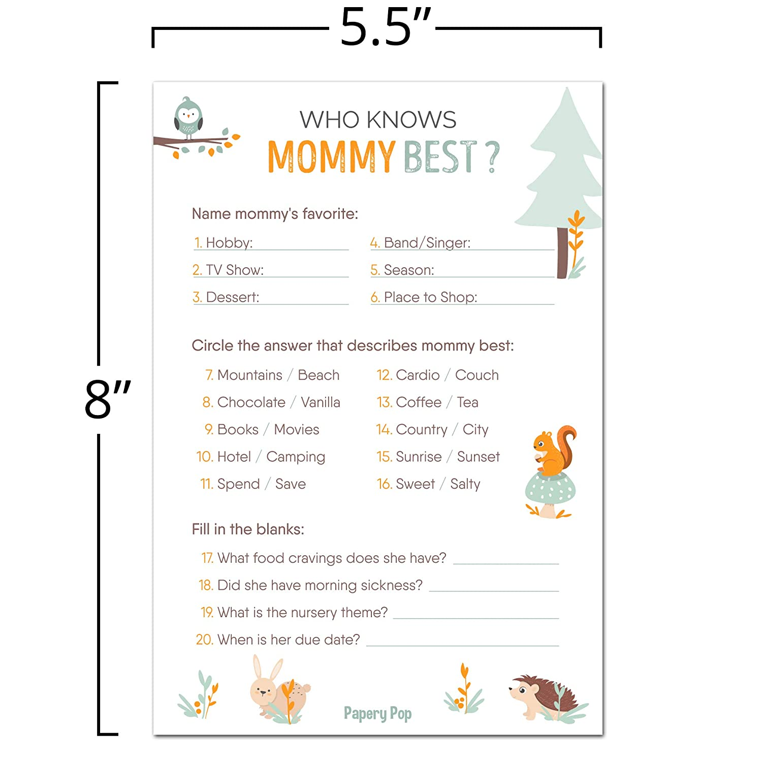 Amazon.com: Who Knows Mommy Best Game Cards (Pack of 50) - Baby Shower  Games Ideas for Boy or Girl - Gender Neutral - Party Activities Supplies -  Woodland ...