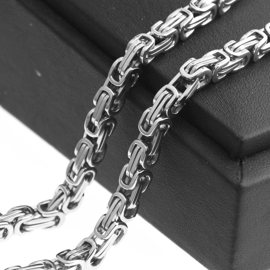 MUYING JEWELRY 4//6//8mm Customized Trendy 316L Stainless Steel Silver Byzantine Link Chain Mens Womens Necklace Or Bracelet Wristband 1PCS 8-40