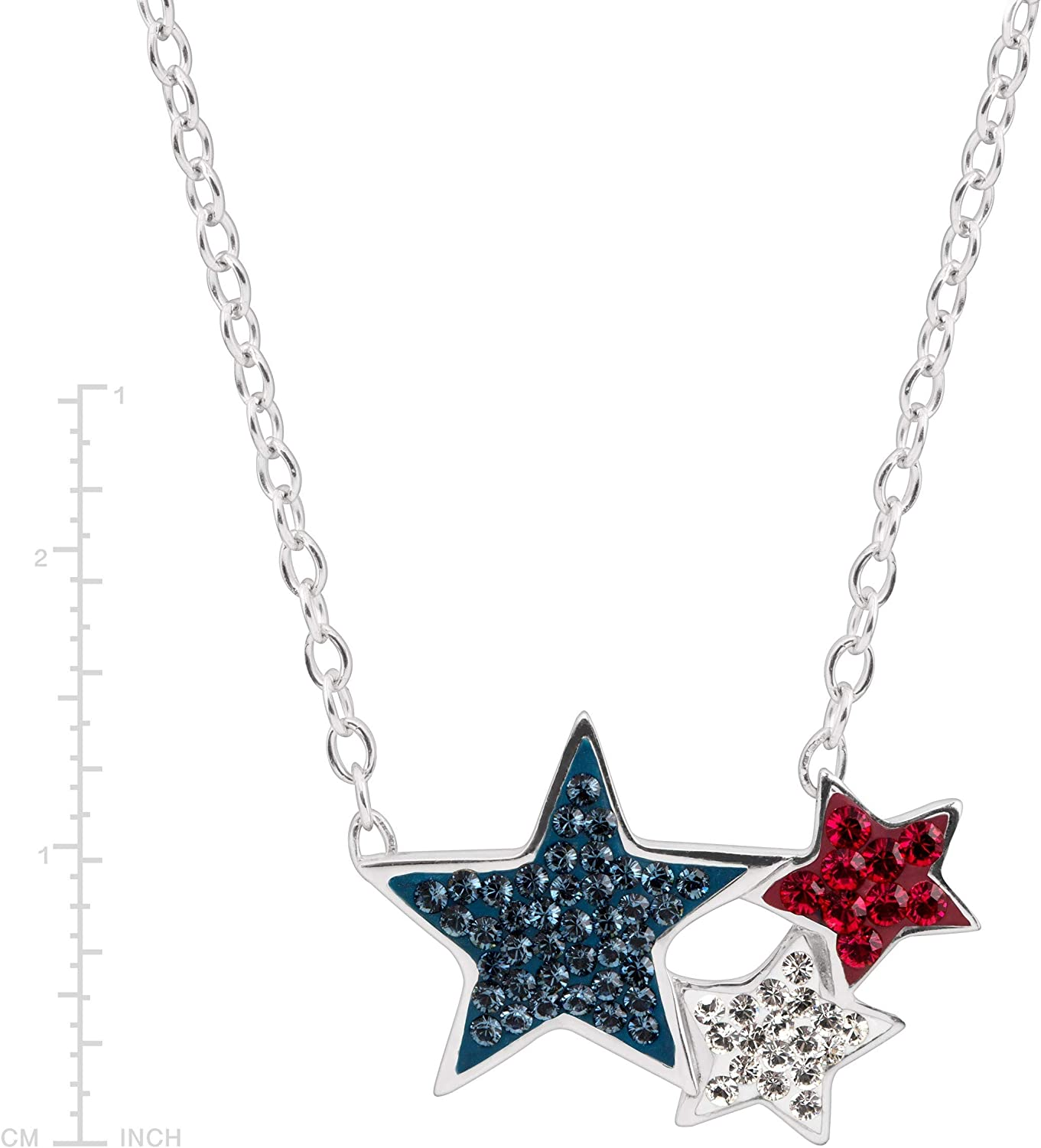Residuos Cobertizo Bienes diversos  Amazon.com: Crystaluxe Red, White, Blue Triple-Star Necklace with Swarovski  Crystals in Sterling Silver, 17