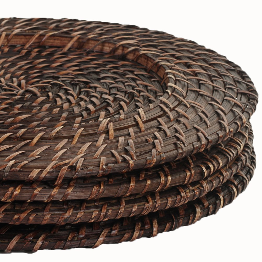 Brick Brown Rattan Charger Plate Set of 4 - ChristmasTablescapeDecor.com