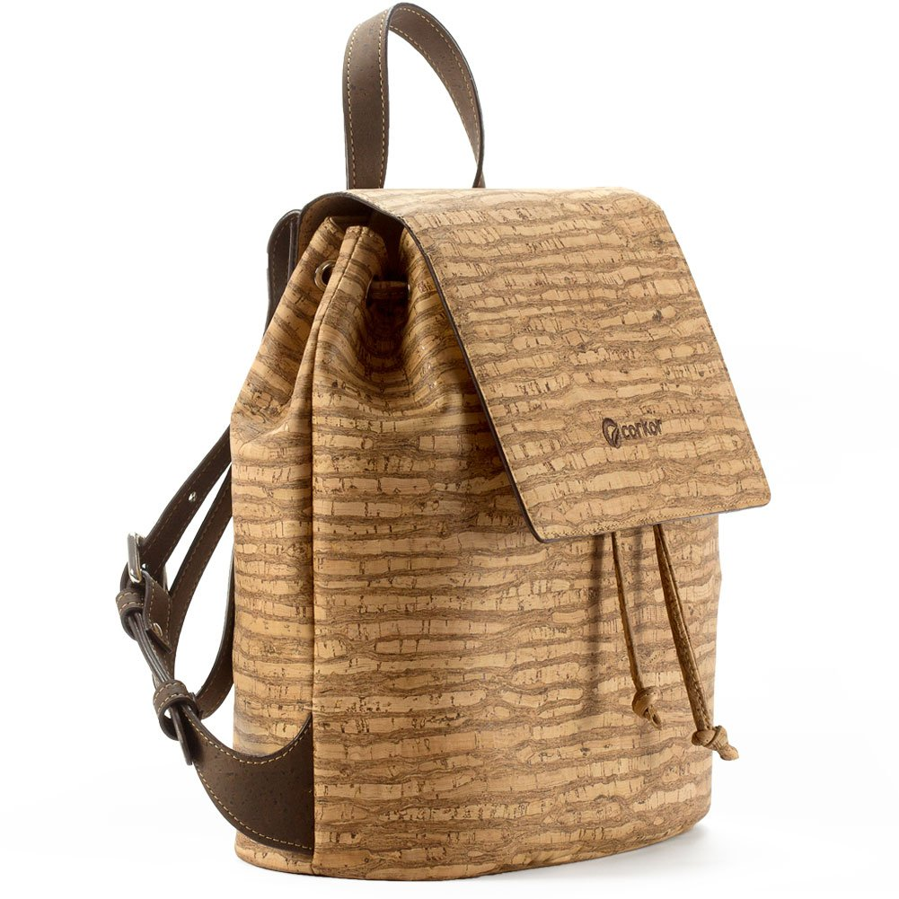 Corkor Cork Backpack - Vegan Handbag For Women Top Flap Back Pack Travel School Natural Zebra by Corkor (Image #2)
