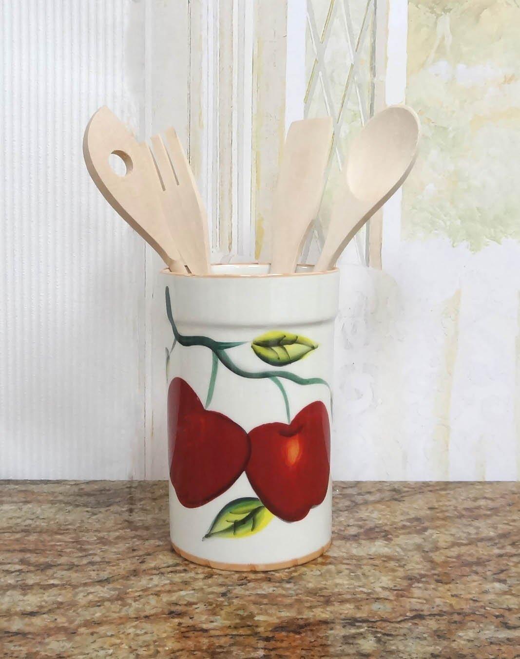 Tuscany Apple Kitchen Utensil Holder Set