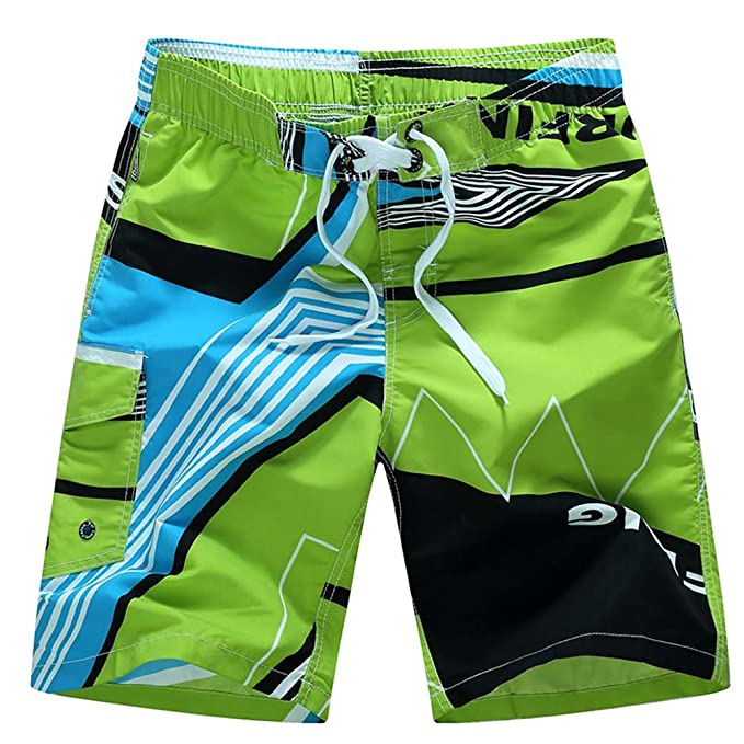 e0bc89fe9d Image Unavailable. Image not available for. Color: ANJUY Men's Casual  Printed Beach Board Shorts Quick Dry Swim Trunks with Pocket