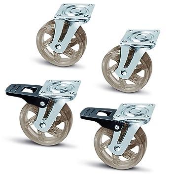 Juego de 4 x SO-TECH® Rueda giratoria para Mueble Color Transparente Marrón Ø 75 mm 2 x sin Freno y 2 x con Freno: Amazon.es: Bricolaje y herramientas