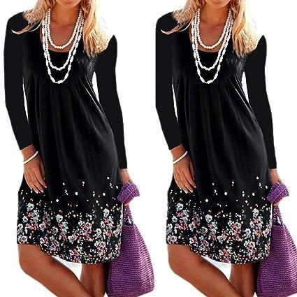 2d7221b6c4c Usstore Women Dresses Loose Ruffled Pleat Beach Long Sleeve Dress for Women  (Black