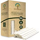 """Naturalik 300-Pack White Paper Straws Biodegradable Dye-Free - Premium Eco-Friendly Paper Straws Bulk - Drinking Straws for Juices, Shakes, Smoothies, Restaurants and Party Decorations, 7.7"""" (White)"""
