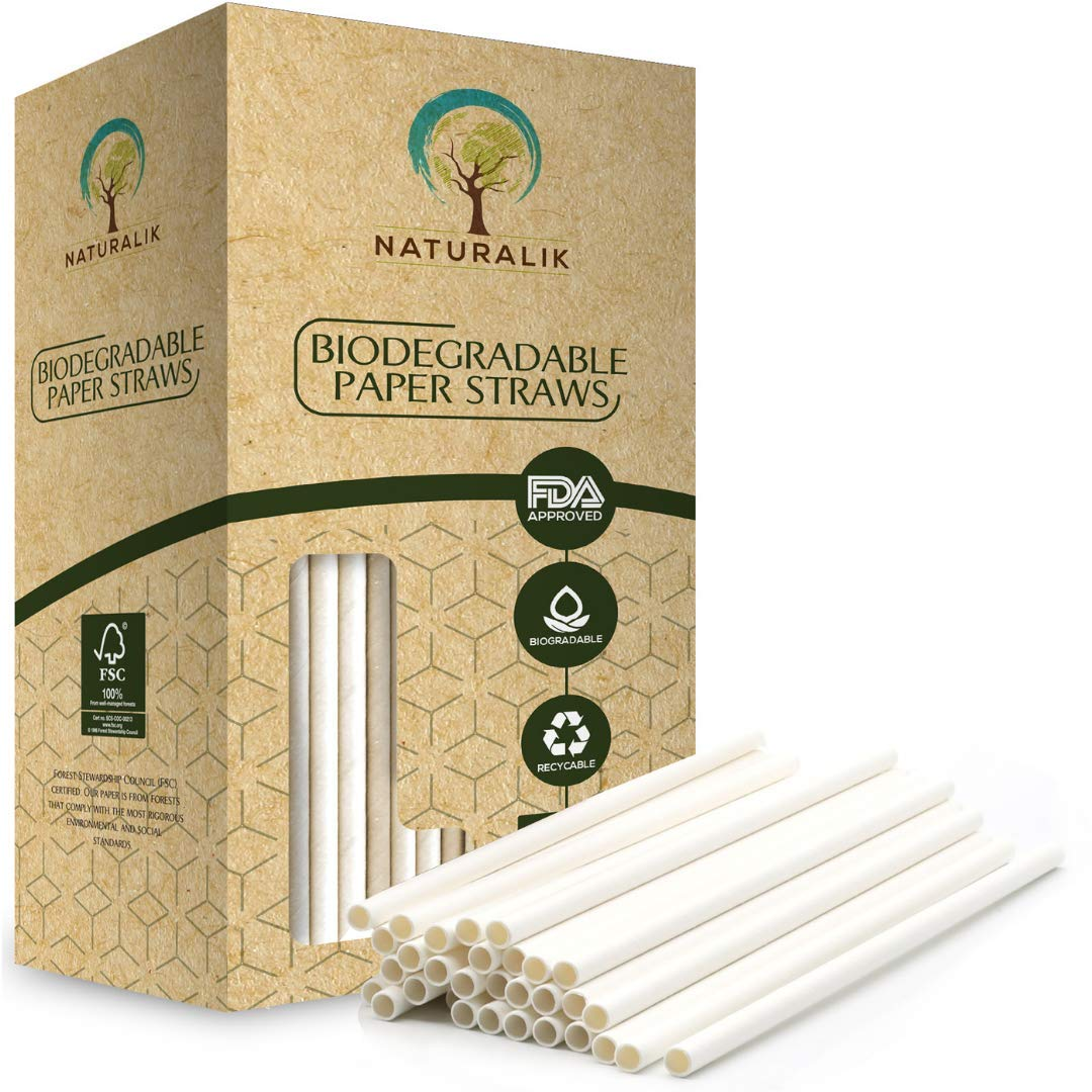 Naturalik 1000-Pack White Paper Straws Biodegradable Dye-Free- Premium Eco-Friendly Paper Straws Bulk - Drinking Straws for Juices, Shakes, Smoothies, Restaurants and Party Decorations (White, 1000ct) by Naturalik