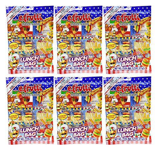 Set of 6 - 2.7oz Gummy Lunch Packs! - Lunch Themed Blend - Bite Size - Easy to Carry - Inividually Wrapped!