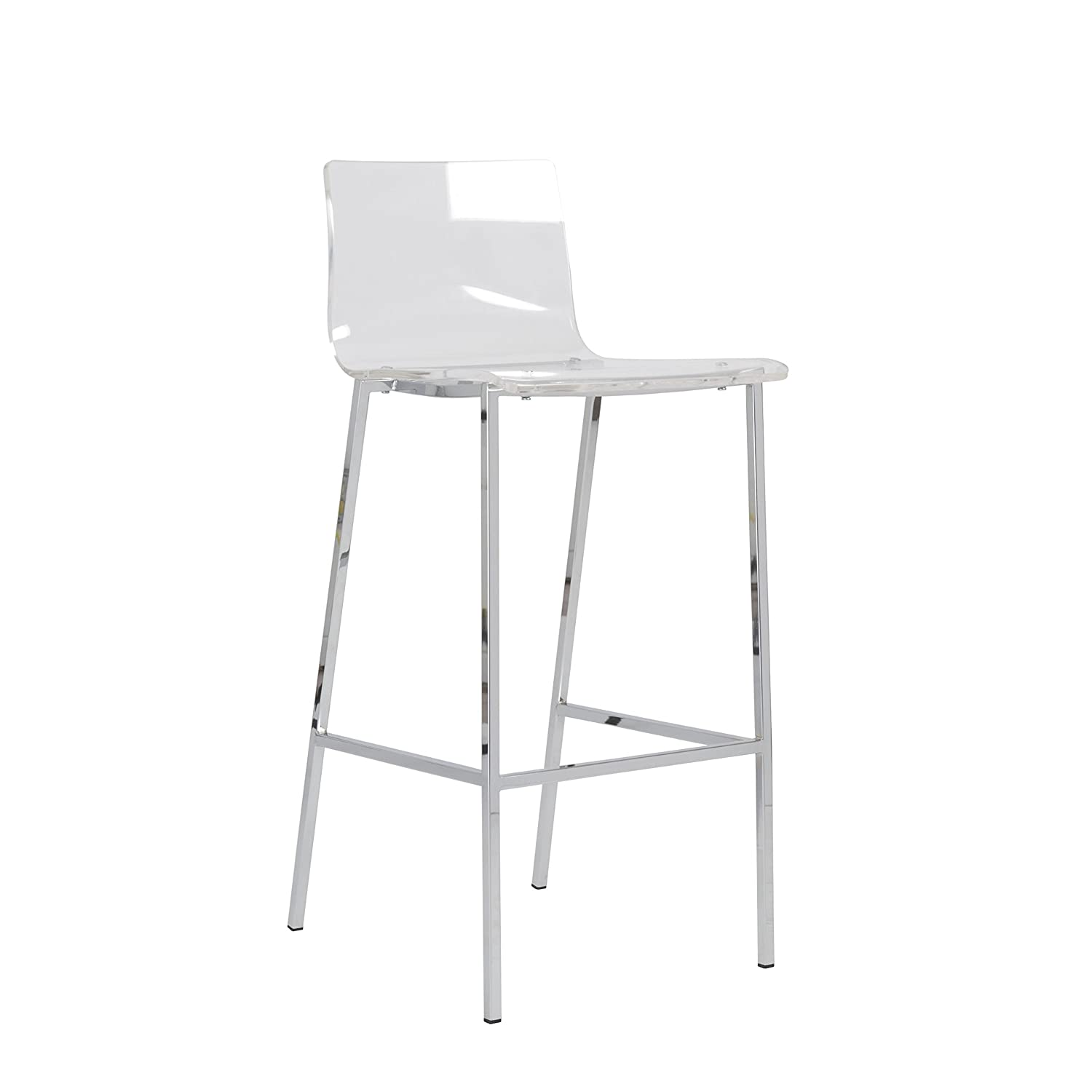 Amazon.com: Euro Style Chloe Clear Acrylic Bar Height Stool with Chromed  Base, Set of 2: Kitchen & Dining